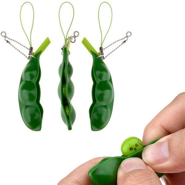 Divertido EDC Squeeze Extrusion Bean Toys Llaveros Llavero Pea Soybean Descompresión Anti-ansiedad Finger Toys con paquete al por menor DHL libre
