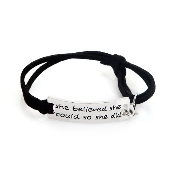 """Wholesale- QIHE JEWELRY """"she believed she could so she did""""Encouraged Inspirational Letter Bracelet Tag Charm For Women Gifts"""