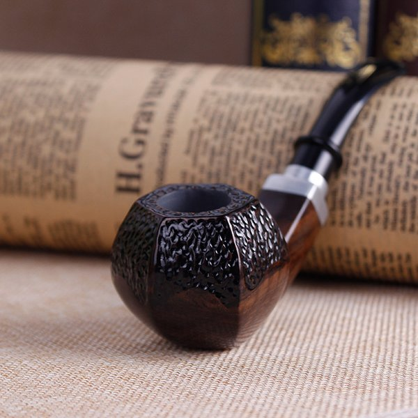 New carved unique ebony Smoking pipe graven dry herb wood pipes classic Tobacco Pipe smoke man Nice Gift free shipping USA hot selling