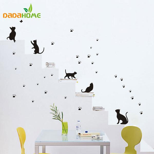 Бесплатная Доставка Популярные Кошки И Лапы Печатает Стикер Стены Настенной Росписи Домашнего Декора Комнаты Дети Наклейки Обои Adesivo Де Parede