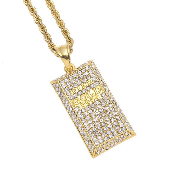 New Arrivel Hip hop Men Gem Dog Tag Crystal Bling Bling Iced Out GOLD9999 Pendant Necklace Jewelry Drop Shipping