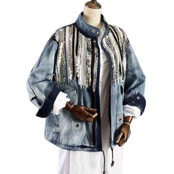 Wholesale- giacca di jeans giacca donna moda cappotti bling Paillettes maniche lunghe blu vintage boho hippie chic giacca Chaquetas Mujer abbigliamento