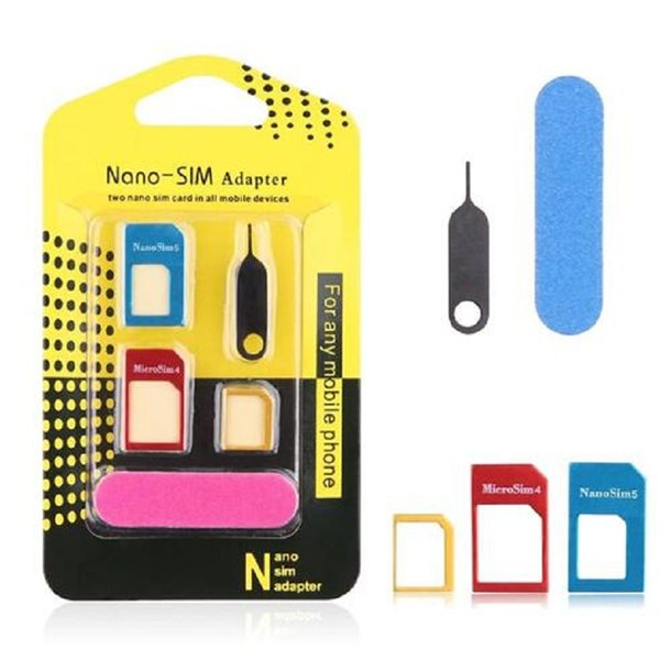 Aluminum Metal 5 in 1 Nano SIM Card to Micro SIM Card Standard Adapter Converter Eject Pin Set For iPhone for samsung Cell Phone