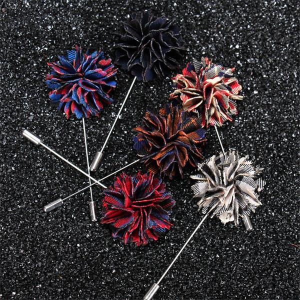 BoYuTe 5Pcs Handmade Grid Flower Fabric Brooch Wholesale Fashion Men Lapel Pin for Suit Wedding Jewelry Christmas Ornament
