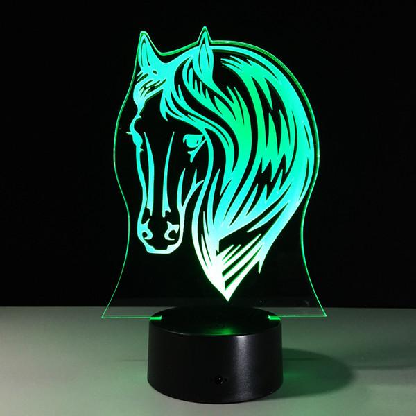 3D Horse Head Optical Illusion Lamp Night Light 7 RGB Lights DC 5V USB Charging AA Battery Free Shipping