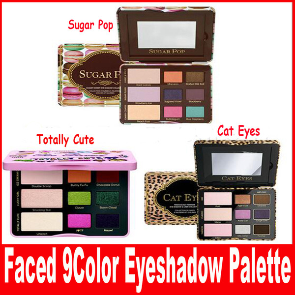 New Faced Sugar Pop Eyeshadow Cheek Palette Totally Cute and Cat Eyes 3 style Shadow Palette Blush face Cosmestics Makeup