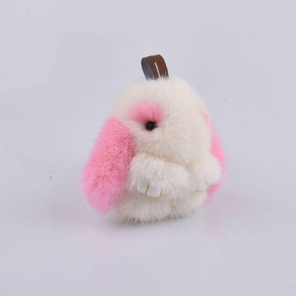 Compre 8 Cm Conejos Niña Llaveros De Piel Real Conejito Llavero De ...
