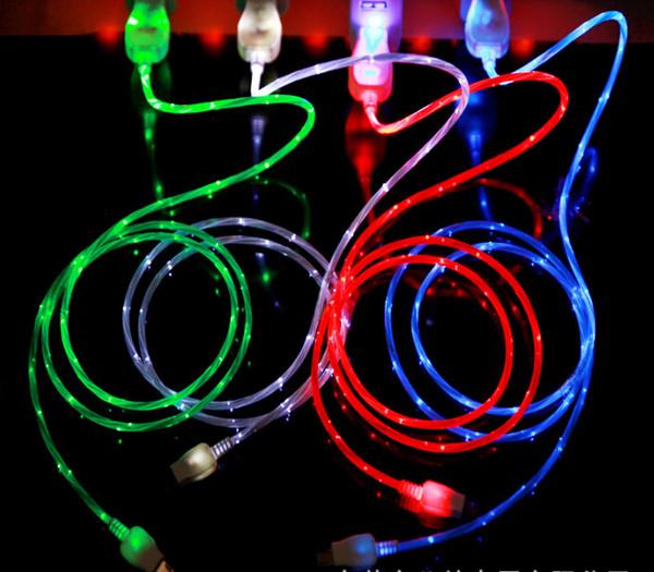 Flowing LED Glow Micro USB Cavo di sincronizzazione dei dati di ricarica per Samsung Huawei Xiaomi HTC Lenovo Sony LG Cellulari Android Cavo USB