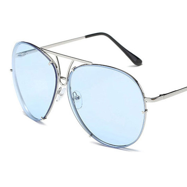 New Brand Design Classic Metal Sunglasses pilot Driving Glasses Female points Fashion Popular Big frame Women Frog sunglasses retro