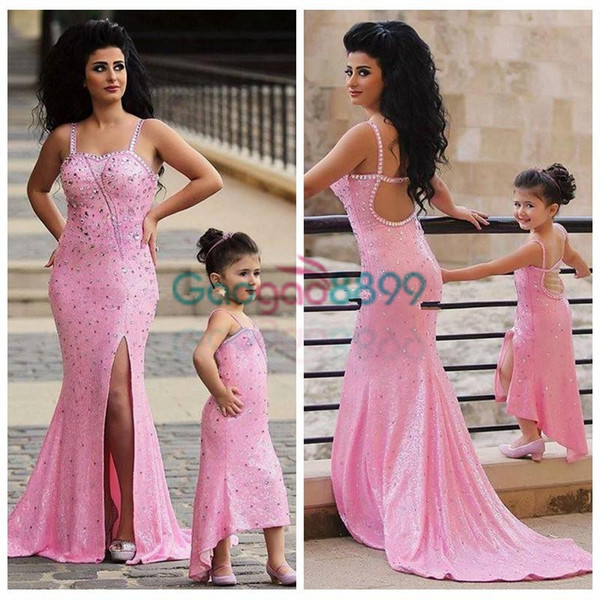 2019 Spaghetti Pink shiny Mother Daughter Matching Dresses Rhinestones Beaded Mermaid Prom Dress 2 Pieces split trumpet Evening Gowns