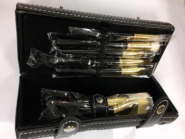 New Luxury 9pcs Makeup Brush Set Make Up Brush kits with Cylinder leather Box Foundation Powder BB Cream Brushes free ship