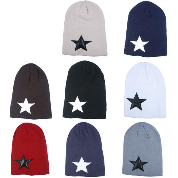 Star Logo Autumn Winter Unisex Beanies Fashion Outdoor Men Women Skull Knitted Caps Gorro Trend Bboy Hip Hop Cap GH-147