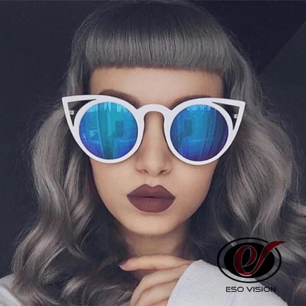 Bayan Moda Güneş Gözlüğü Kaliteli Toptan Yansıtan Tasarımcı Güneş Gözlüğü Kedi Göz Parti için Lady Temizle Büyük Çerçeve Boy Ucuz Güneş Gözlüğü