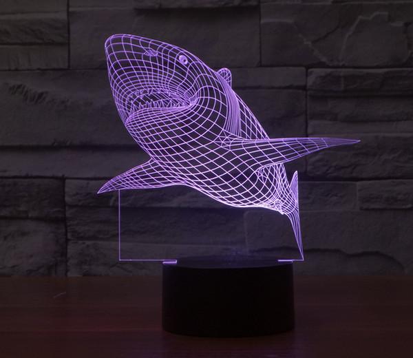 3D Shark Light 7 Colors Changing Table Desk Deck Lamp Bedroom Children Room Decorative Night Light(Shark)