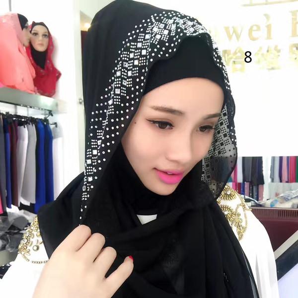 1 bilgisayar! Kadınlar için Müslüman Başörtüsü Kare Eşarp Türban Hicap Başkanı Kaplamalar Ipeksi Saten Sarar Moda Atkılar İslam Bandana Siyah Büyük Boy 77