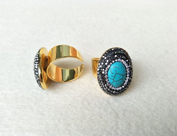 6pcs Gold color Natural turquoise tophus stone rings,Pave Crystal Rhinestone Jewelry Finger Ring R75