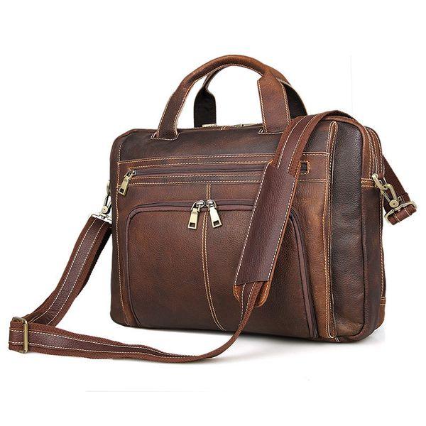 Mens Top Cow leather Single Shoulder Bag Business Bag 16 inch laptop Bag European Fashion Style Deep Brown Color 7310