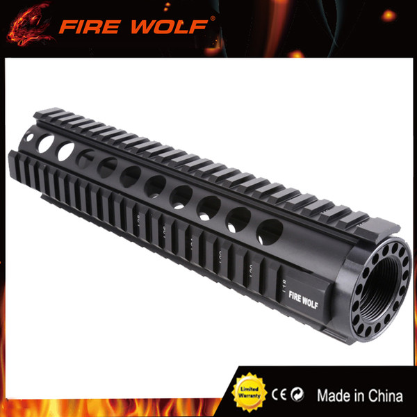 FIRE WOLF Tactical T-Series 4/15 Free Float 10 Inch Handguard Quad Rail Mount for AR-15 M4