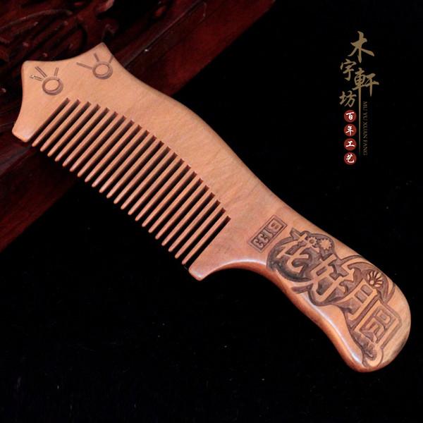 Üreticileri toptan butik kalınlaşma eski maun oyma taraklar Sağlık masaj anti-statik ahşap tarak saç tarak