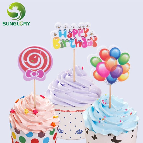 2019 Wholesale Cake Toppers Happy Birthday Cake Decoration Card For Wedding  Party Cupcake Decorating Insert Cards With Toothpicks From Galry, $19.76    ...