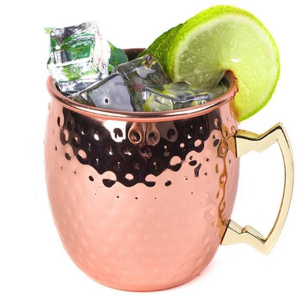 500ml Stainless Steel Copper Plating Hammered Drum Style Moscow Mule Beverage Mug Cups with Handle