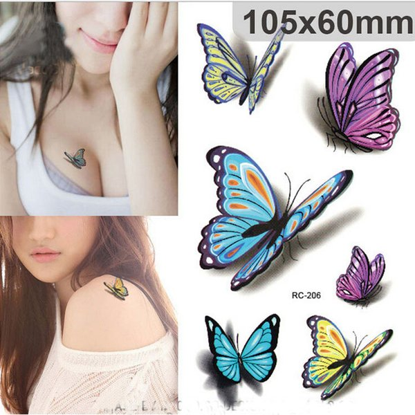 Sexy Waist Shoulder Water Transfer Tattoo Decal Waterproof Temporary Tattoo Sticker Colorful Butterfly Fake Tattoo 50pcs/lot free ship