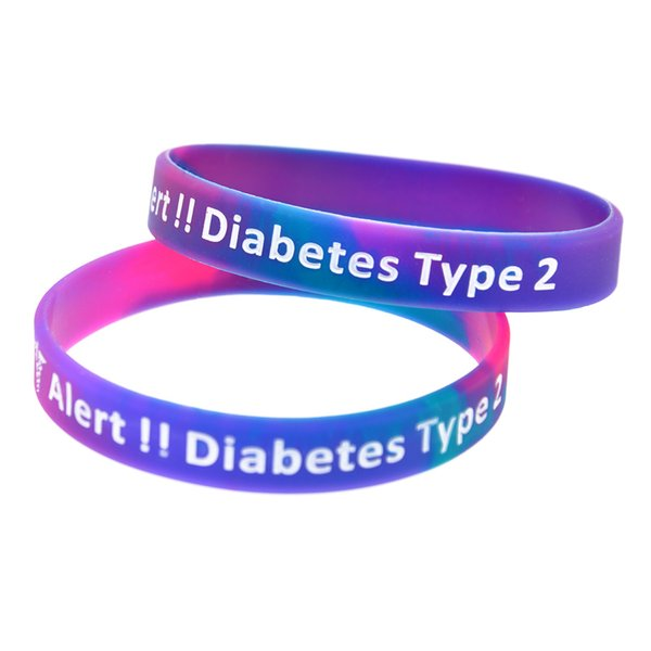 Neue Farbe 100PCS / Lot Art 2 Diabetes Armband Medical Alert Erinnerung Etiketten Silikon Armband Werbegeschenk