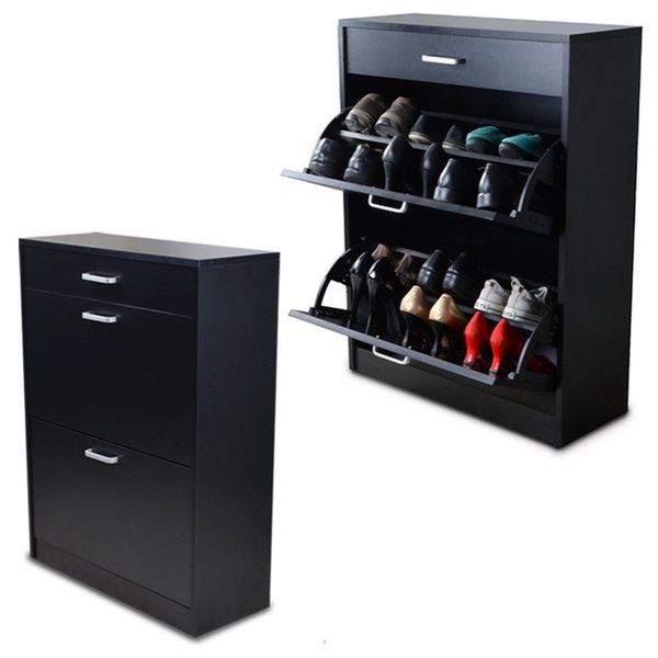Ordinaire Black Wood Shoe Cabinet Shoe Closet Rack Organizer With Storage Drawers And  2 Rotary Doors From