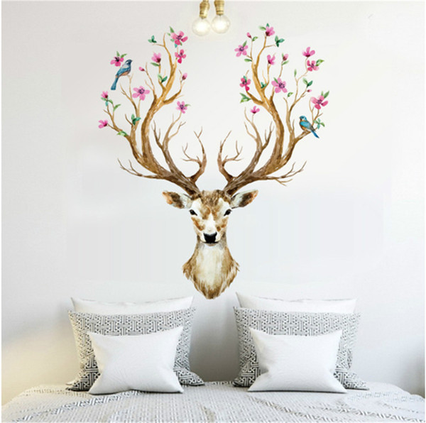 DIY Head Flowers Deer Wall stickers For Living Room Art Vinyl Wall Decals For Kids Baby Home Decor Christmas Ornament adesivo de parede