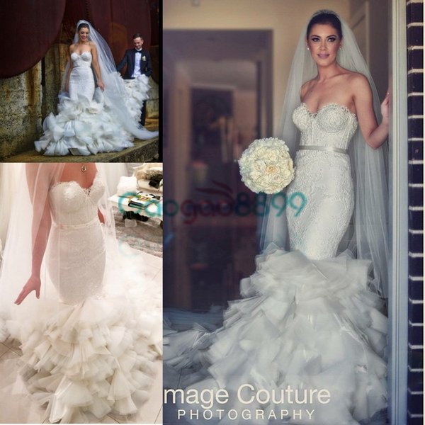 2017 Berta Cathedral Ruffles Train Summer Beach Mermaid Wedding Dresses Fully Lace Embroidery Trumpet Garden Bridal Wedding Gown