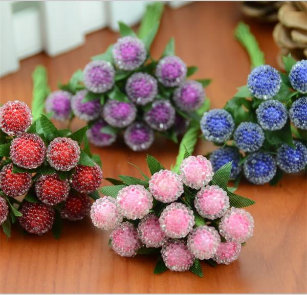Gros-12pcs petites baies de fleurs artificielles rouge cerise étamine Pearlized mariage simulation verre grenade décoration