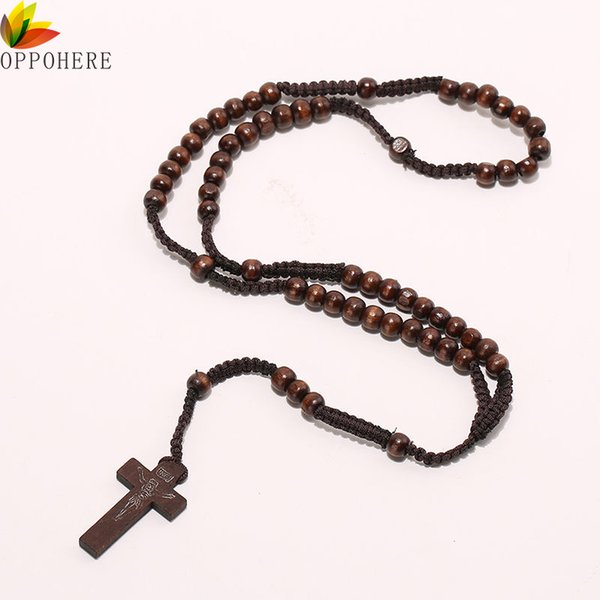 Wholesale- OPPOHERE Men Women Catholic Christ Wooden 8mm Rosary Bead Cross Pendant Woven Rope Necklace Black/brown/Beige/ligt brown