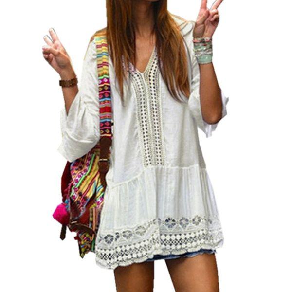 Wholesale- 2017 Women Lace Dress Summer Style V neck Flare Sleeve Crochet Hollow Out White Mini Dress Female Boho Beach Dresses Vestidos