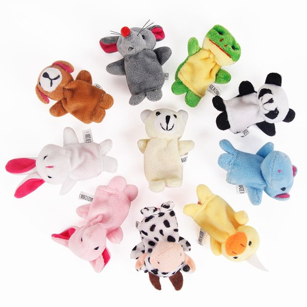 Hot Sale Express Finger Puppets Plush Toy Talking Props 10 Different Animals Set Toys For Baby Children Free Shipping