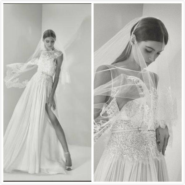 Vintage Sheer White Beach Wedding Dresses Elie Saab Bridal Gowns ...