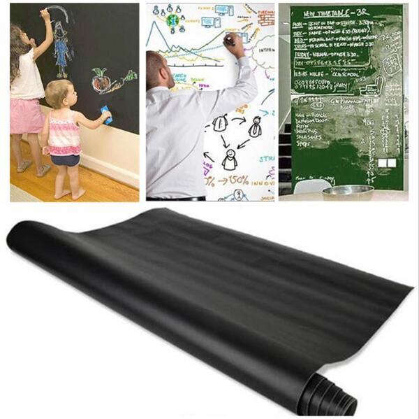 45x200 cm amovible tableau noir autocollants ardoise murale autocollant craie conseil de papier peint de mur art stickers muraux craie conseil de papier Lable KKA1829