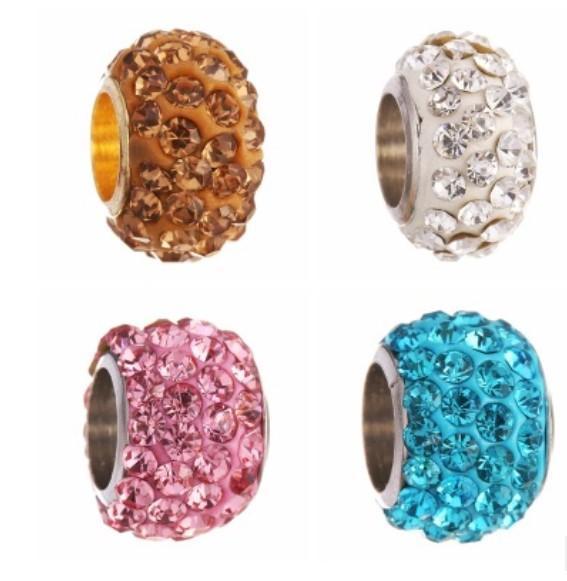 Fits Pandora Bracelets 20pcs Four Raw Shambala Clay Crystal Charm Bead Loose Beads For Wholesale Diy European Sterling Necklace Women