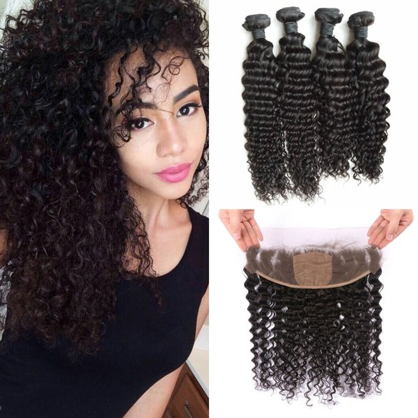 13x4 Indian Virgin Hair Deep Curly Silk Base Frontal Closure With 4 Bundles Natural Black Silk Lace Frontal LaurieJ Hair