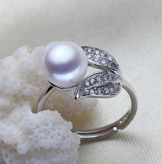 Wholesale 8-9mm white pink purple three colors oblate Natural pearl ring 925 silver JZ0072