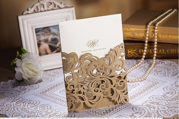 Hot sale Gold Hollow Flora Wedding Invitation Cards Personalized Laser Cut Lace Wedding Invitations Customizing and Printing