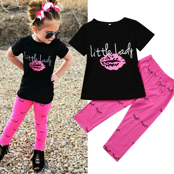 2017 Summer Toddler 2Pcs Infant Kid Baby Girls Outfits Black T-shirt Tops + Pink Leggings Pants Clothes