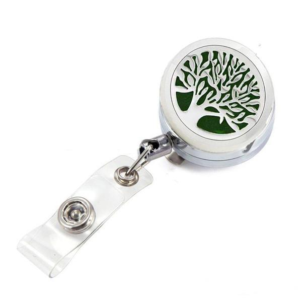 Life Tree Aromatherapy Locket Metal Retractable Badge Reel Key 30MM ID Card Clip Ring Lanyard Name Tag Card Holder Free Pads