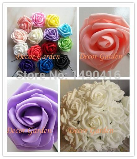 Wholesale-Wholesale 7CM PE Artificial Foam Roses with stem For Home And Wedding Decoration DIY wedding bouquet making