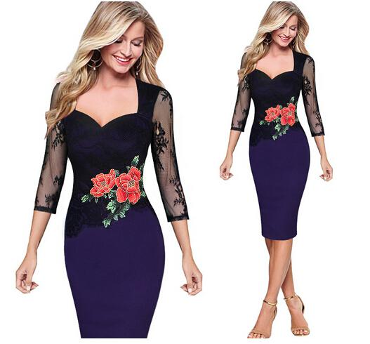New Women Embroidered Floral See Through Lace Party Evening Bridemaid Mother of Bride Special Occasion Embroidery Dress Women's clothing