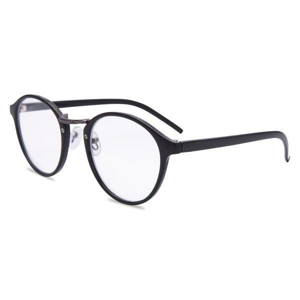 Cadre rond lunettes de lecture unisexe printemps charnière lecteurs élégants hommes femmes noir en plastique de style rétro