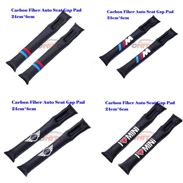 Hot seling 2pcs/lot Carbon Fiber car Seat Gaps Plug Crevice Inserts Protective Padding for M LOVE mini WING logo auto seat padding