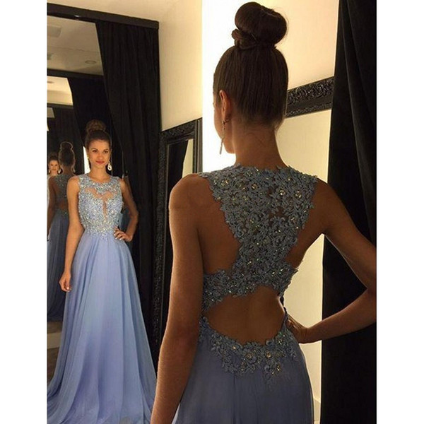 Lavender Blue Prom Dresses Lace Applique Beads Long Evening Gowns A Line Crew Neck Sheer Plunging Cut Out Back Chiffon Formal Party Dress