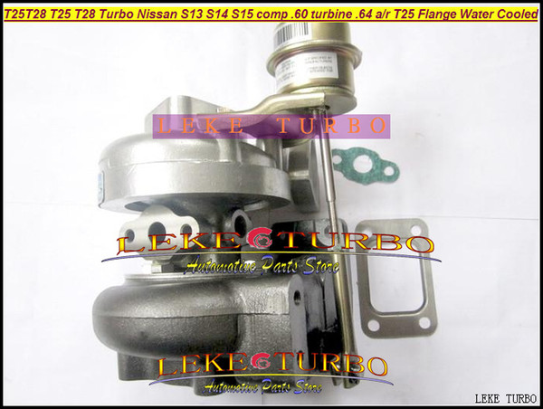 Wholesale T25 T28 T25T28 T25/28 Turbo TurboCharger For Nissan Engine S13 S14 S15 comp .60 Turbine .64 AR T25 Flange Water Cooled
