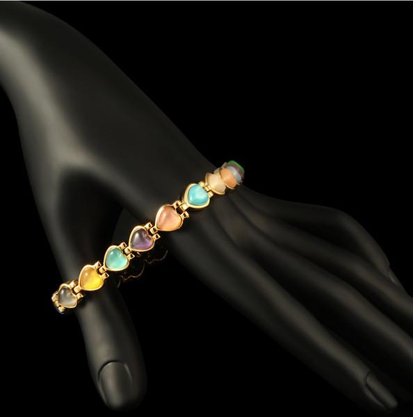 Здравоохранение ручной украшения 18k позолоченный Кошачий глаз Магнит терапии дамы браслет - случайный