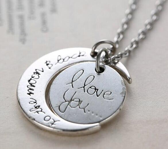 2018 Pendant Necklaces 7 Styles I Love You To The Moon and Back Necklace 20pcs lot Lobster Clasp Hot Pendant Necklaces
